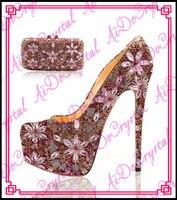 Aidocrysta Stylish High Heel Dress Shoes Rhinestone Flower Shoes Low Heel Ladies Closed Shoes
