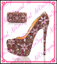 Aidocrysta Luxury genuine leather crystal high heel platform bridal shoes and matching clutch bag set