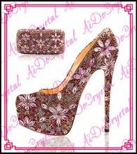 Aidocrysta Luxus echtem leder kristall high heel plattform brautschuhe und passende handtasche set
