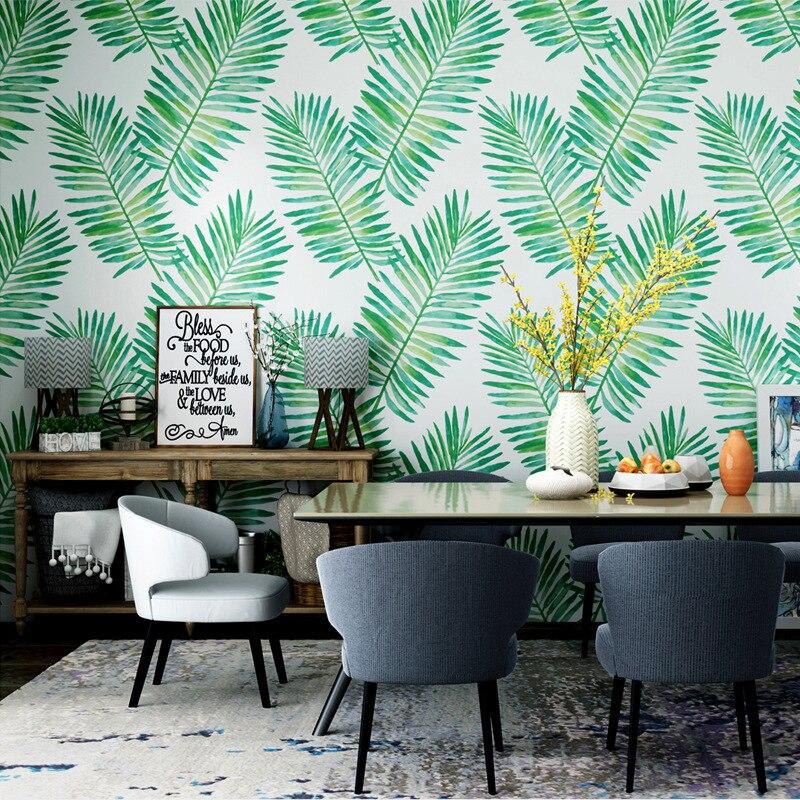 Papier peint vert Tropical ins asie du sud-est feuille de banane pluie-forêt plante salon chambre fond TV papier peint décor mural