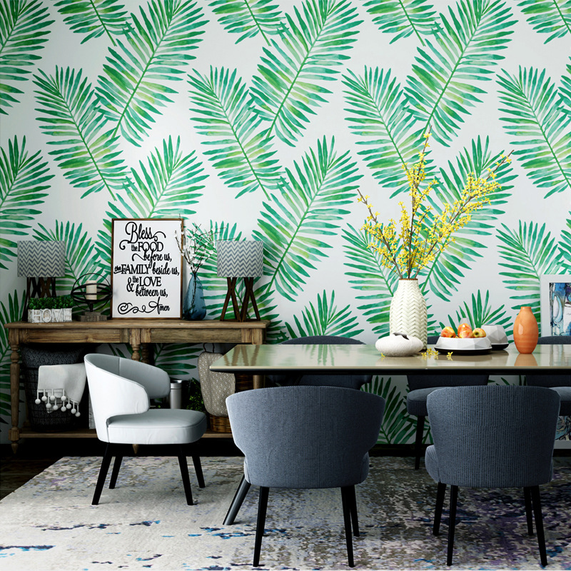 Tropical green wallpaper ins Southeast Asia banana leaf rain-forest plant living room bedroom TV background wall decor