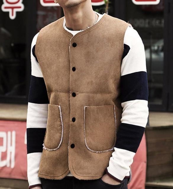 2016 Nueva Llegada Del Otoño Ropa Suéter de Cachemira de Los Hombres Chalecos de piel Chaleco de Lana Chaquetas de Punto Para Hombre chalecos Sin Mangas