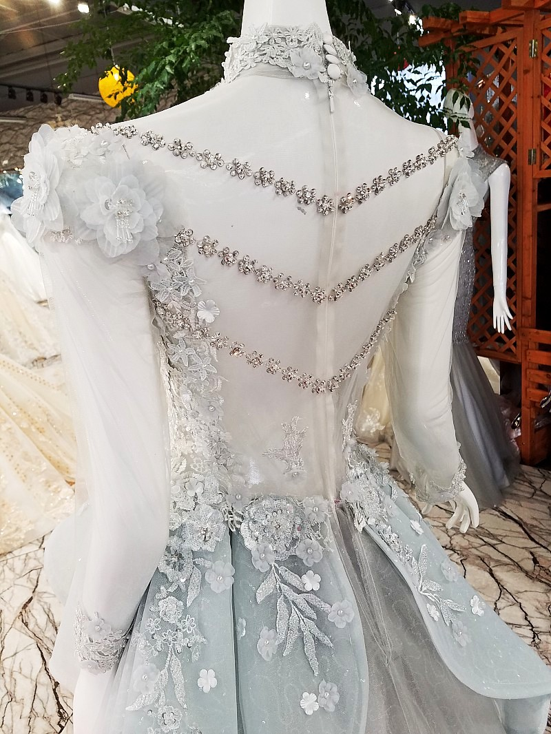 Moslim Elegant Lichtgrijs Lange Prom Dresses 2018 Hoge Kraag Volledige Mouwen 3D Bloem Prom Jassen Crystal Applicaties Abendkleider - 4
