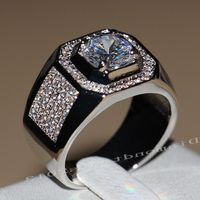 Victoria Wieck Luxury Jewelry Topaz Simulated Diamond Pave 10KT White Gold Filled GF Wedding Men Band