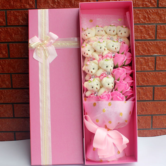 Valentine's Day Gift 18 Bears Bouquet Cartoon Anime Dolls with Beautiful Gift Box for Graduation Birthday Girlfriend Kid