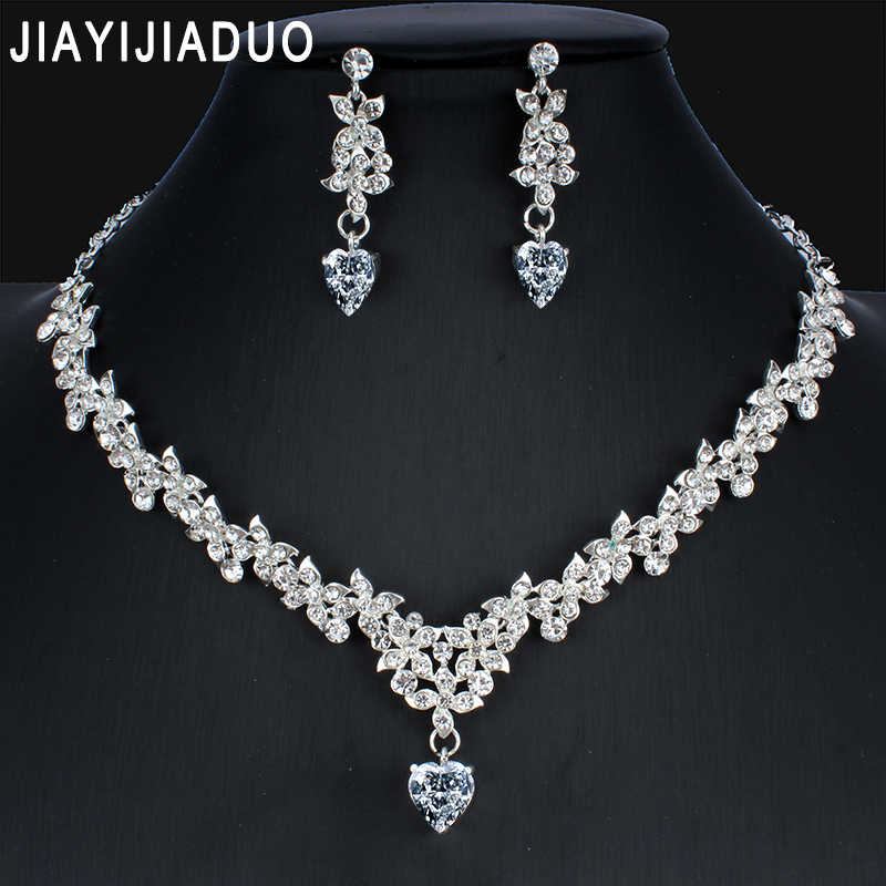jiayijiaduo Silver Color Heart Necklace Earrings Set for Glamour Women Bridal Dresses  jewellery sets Wedding Accessories Gift