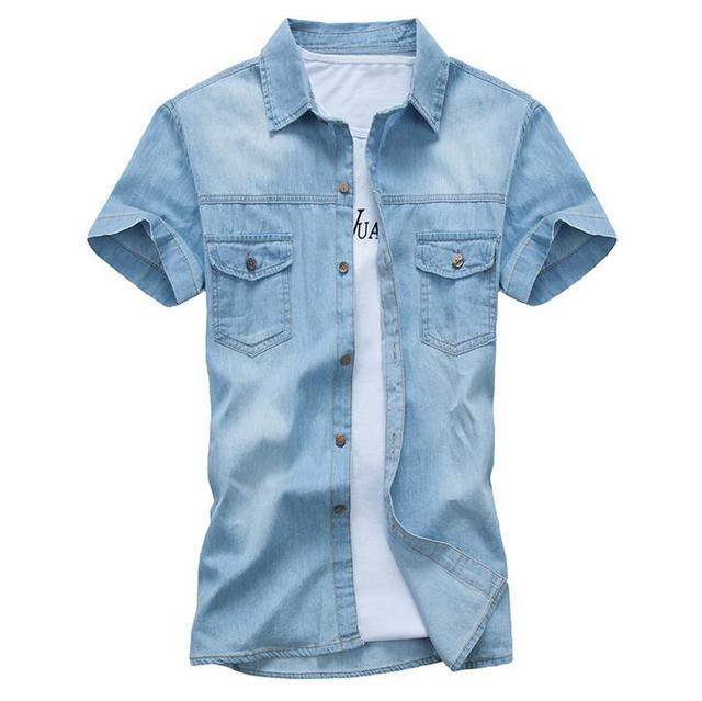 #1112 2016 Slim Cotton denim shirt men Fashion Short sleeve Vetement homme Mens clothing Camisa denim hombre Jeans shirt men
