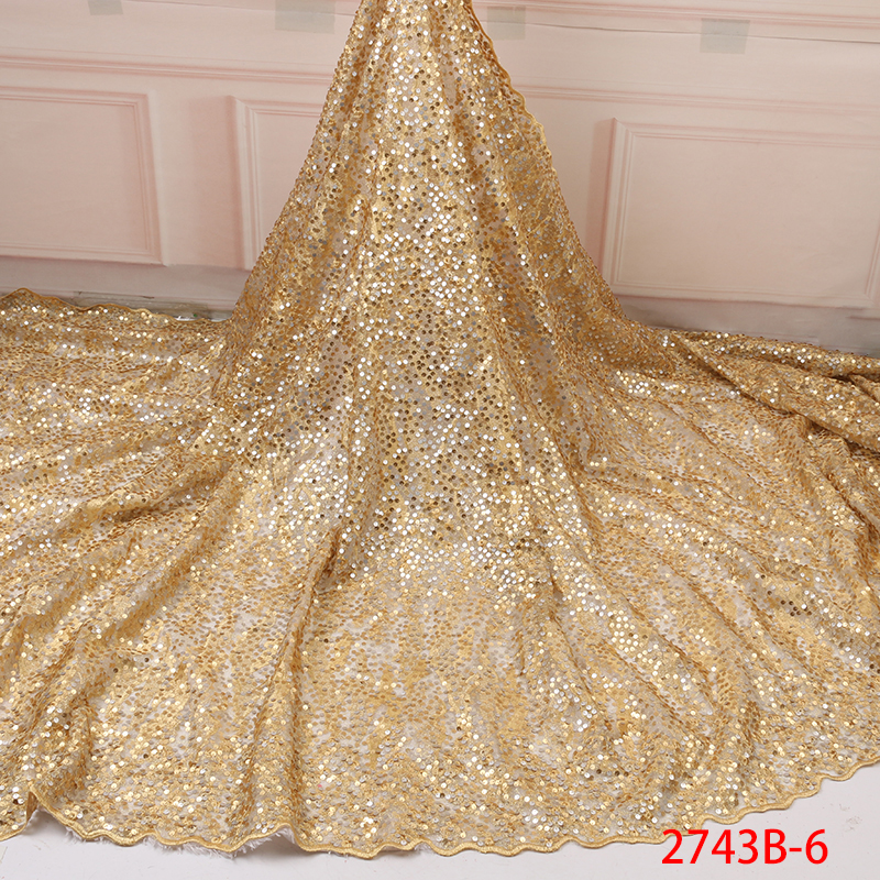 African French Net Lace High Quality Double Organza Lace Fabric Latest Nigerian Tulle With Sequins For Dresses KS2743B-6