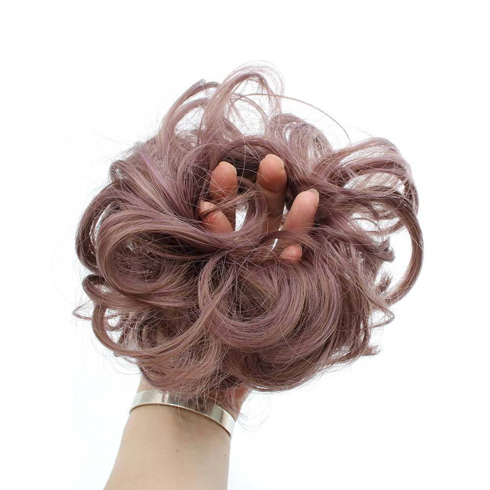 TOPREETY Heat Resistant Synthetic Hair Extension 30gr Curly Chignon Drawstring Rubber Band Updo Donut Q5