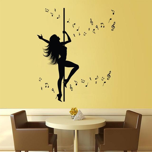 127.5X57cm Pole Dancing Sexy Girl Wall Stickers Creative Music ...
