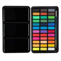 Профессиональный набор однотонных акварельных красок 36 цветов, металлическая коробка, художественная Акварельная пигментная краска для р...