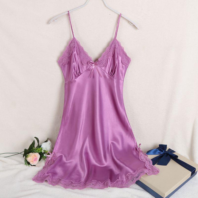 Ladies Sexy Silk Satin Night Dress Sleeveless V-neck Nightgown Lace Sleepwear For Women