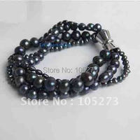 HOT SALE!FOUR STRAND BRACELET WITH BLACK FRESHWATER PEARL 7.5''INCHS MAGNET CLASP NEW FREE SHIPPING FN539