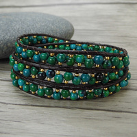 Green Beads 3 Wrap Bracelet Leather Wrap Bacelet Stack Bead Bracelet Yoga Bead Leather Bohemian