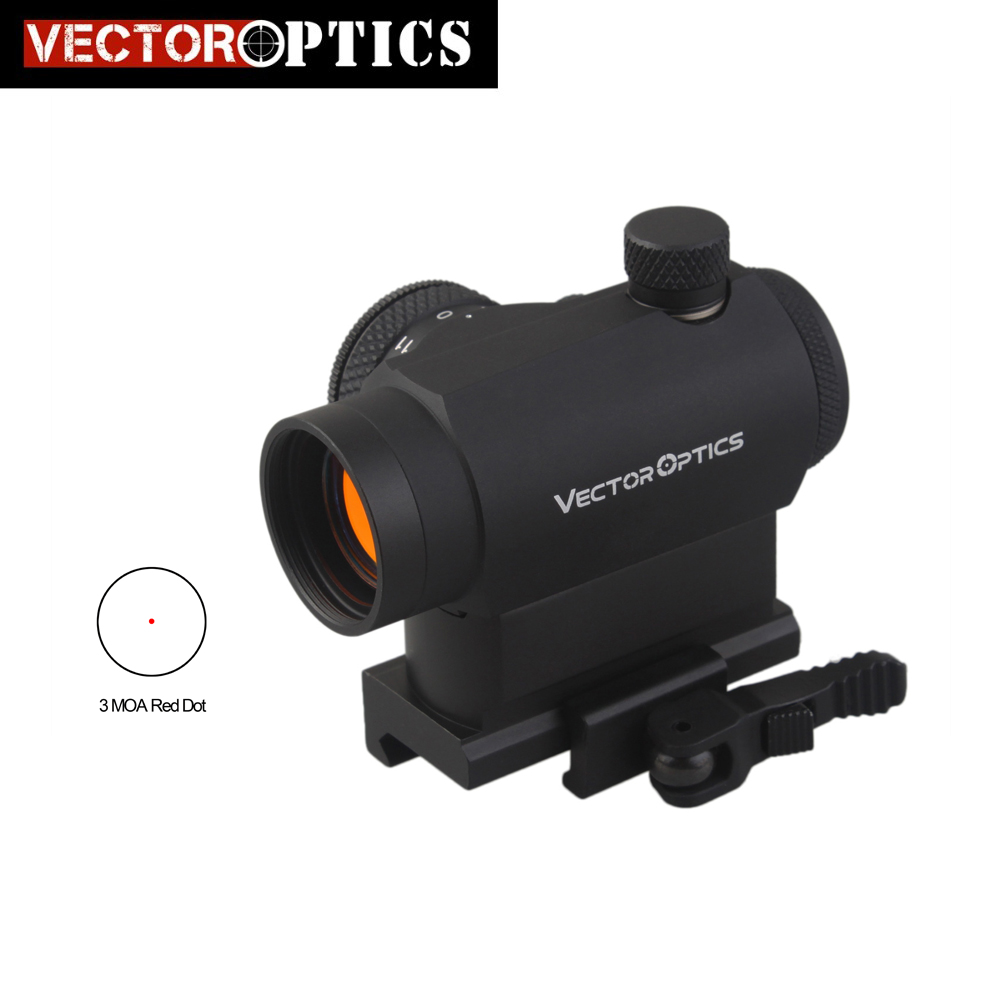 Vector Optics Maverick AR15 M4 1x22 Taktisk Röd Dot Scope Sight med 20mm Quick Release High Riser Picatinny Mount Base