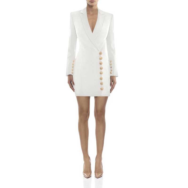 Wholesale 2019 New Dresses Black And White Long Sleeve V