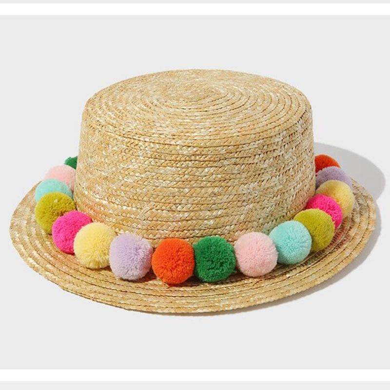 2016 New Seven Rainbow Colored Plush Ball Fashion Women's Sun Hats Hawaiian Vacation Leisure Sentiment Lovely Fresh Straw Hat
