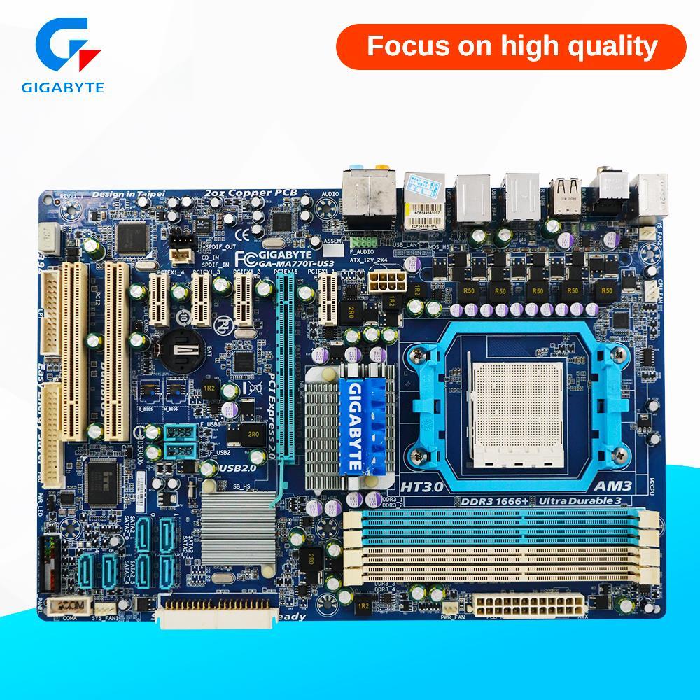 Gigabyte GA-MA770T-US3 Desktop Motherboard 770 Socket AM3 DDR3 SATA2 USB2.0 ATX gigabyte ga ma770t us3 desktop motherboard 770 socket am3 ddr3 sata2 usb2 0 atx
