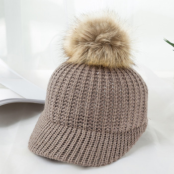 Kylie Knitted Pompom Winter Cap – Brown