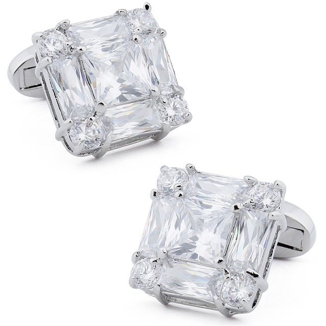 Free Shipping 1 Pair Retail Trendy Square Cutting Crystal High Quality  Men Cuff Links Everlasting Shine Jewelry