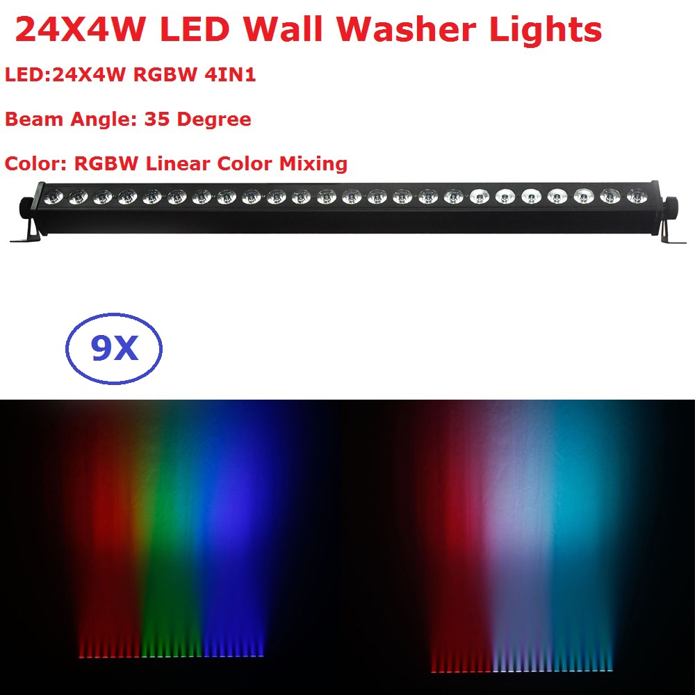 9 Pack Carton Package DMX Wall Washer Lights 24X4W RGBW 4 Colors LED Stage Effect Lights For Party Wedding Disco Events Lighting