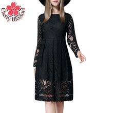 L-5XL Женщины Dress Осень Весна Длинным Рукавом Выдалбливают Черное Кружево Dress Женщина Плюс Размер Жира ММ Случайные Колен Dress Vestidos