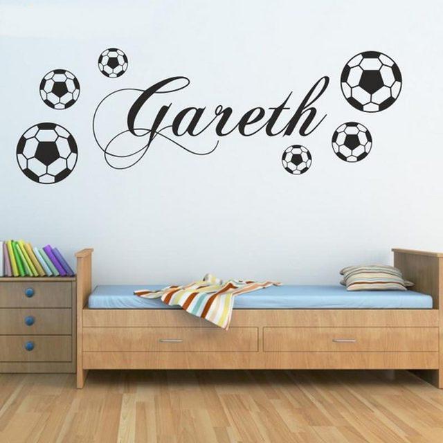 Us 5 99 Massgeschneiderte Personalisierte Fussball Sport Wandaufkleber Jungen Name Schlafzimmer Fussball Kunst Vinyl Fur Kinderzimmer Dekoration In