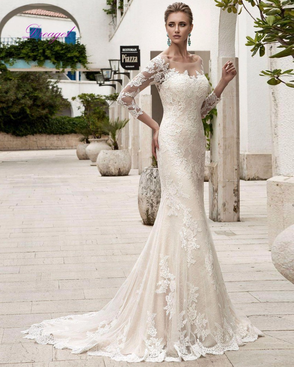 Dreagel Elegante Scoop Neck Lace Up Vestido De Novia Trompeta 2017 Appliques De