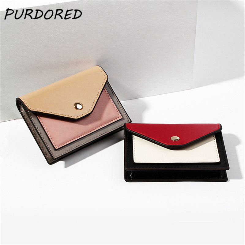 PURDORED 1 Pc Mini Women Wallet PU Leather Credit Card Holders Slim Envelope Female Wallets Coin Pocket Short Card Wallet Clutch