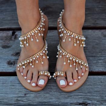 Women Summer Flat Pendant Pearl Sandal String Bead Slipper Women Casual Beach Shoe