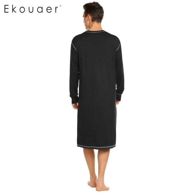Ekouaer Men Sleepwear Long Nightshirt Long Sleeve Lightweight Loose Casual Sleepshirts Male Comfortable Home Nightwear Plus Size
