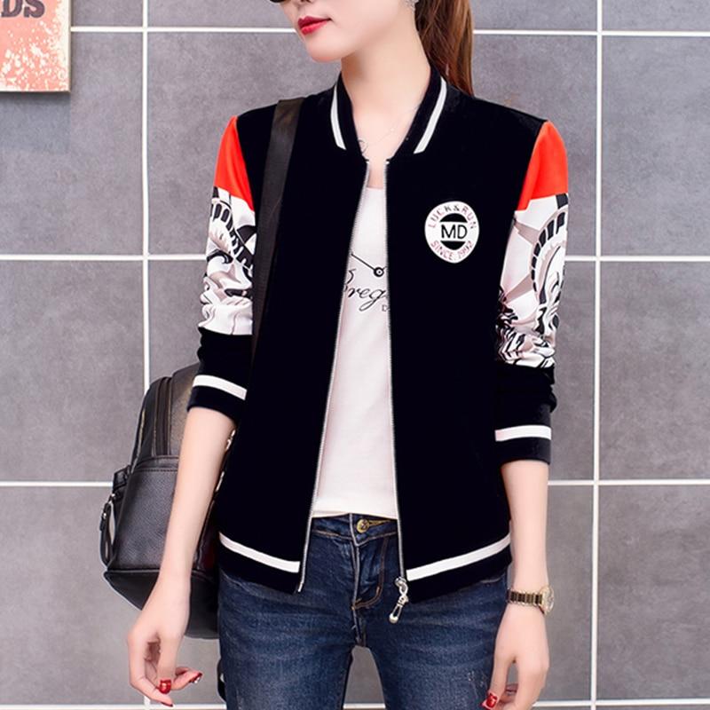 Autumn Print Striped Tops Girl Women   Basic     Jacket   Coat Casual Long Sleeve Baseball Outwear Plus Size Women Bomber   Jacket