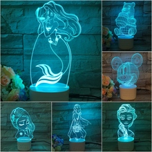Usb 3d Led Night Light Cartoon Princess Queen Elsa Snow White Mermaid Mickey Bear Figure Rechargeable Bluetooth Speaker Lamp