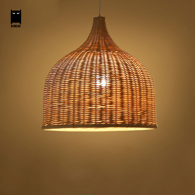 size 40 1a684 1ef3a US $106.0 |Bamboo Wicker Rattan Shade Pendant Lights Fixture Rustic  Japanese Style Tatami Hanging Lamp Lustre Luminaire Dining Table Room-in  Pendant ...