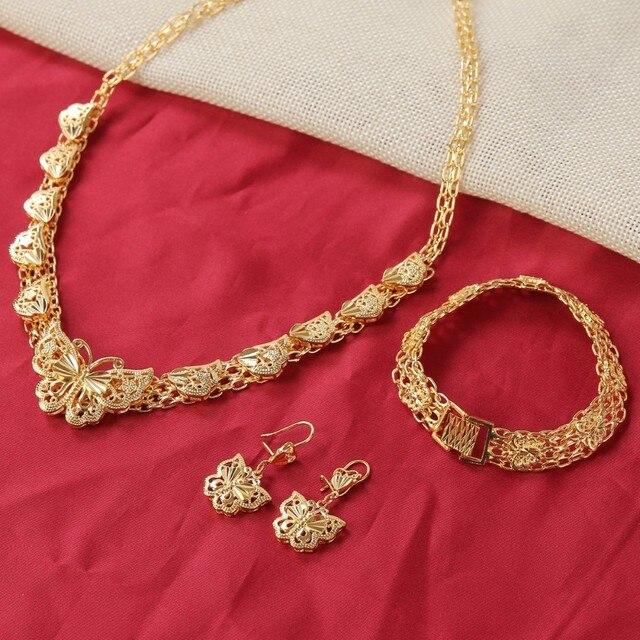 Sky talent bao Ethiopian Wedding Jewelry Sets 24K Gold GF Butterfly