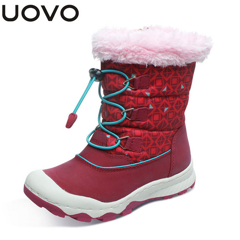 New 2018 UOVO Brand Children Boots Waterproof Girls Boots Warm Kids Snow Boots Zip and Bungee Lacing Sport Boos for Girls Shoes pa4220e24