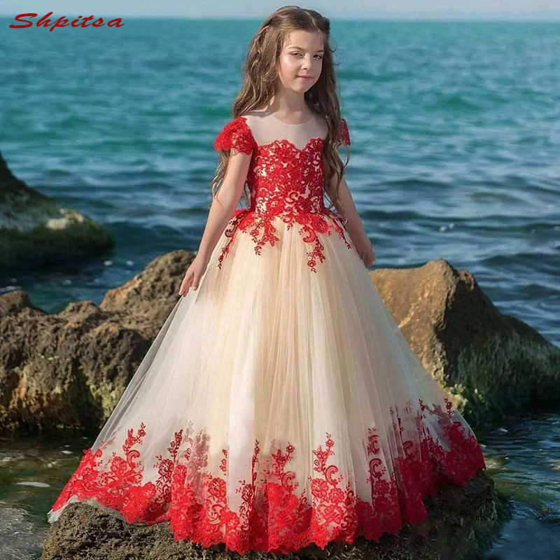 Red Lace   Flower     Girl     Dresses   for Weddings Evening First Communion Pageant   Dresses   for Wedding   Girls   Kid