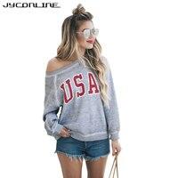 JYConline USA Letter Print Women T Shirt 2017 Autumn Long Sleeve T Shirts Tee Shirt Femme