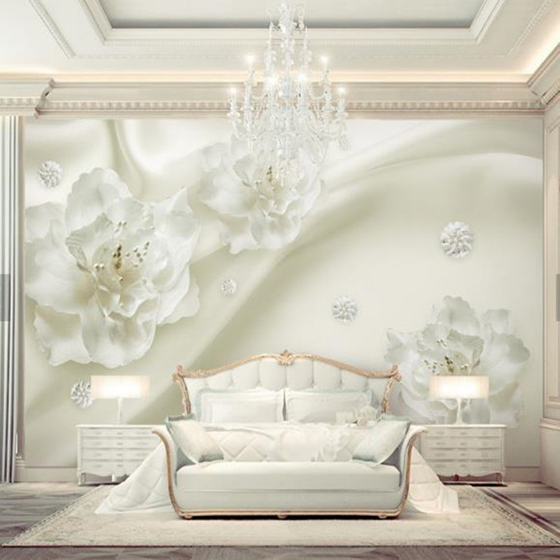 Custom Photo European Wallpapers for Walls 3D Living Room White Florals Wall Papers Modern Luxurious Murals Home Decor Flowers circle mirror photo wallpapers 3d modern abstract murals wall papers home decor wallpapers for living room wall paste wall mural