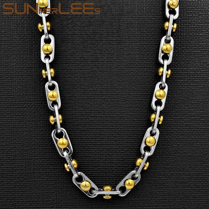 SUNNERLEES 316L Stainless Steel Necklace 6mm Geometric Beads Link Chain Silver Gold Men Women Fashion Jewelry Gift SC163 N
