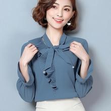 Hunter-wish 2017 Autumn New Bow Tie Long-sleeved Chiffon Shirt Fashion Elegant Female Stitching Chiffon Blouse Casual Women Tops