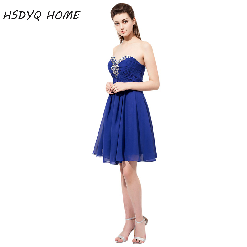 HSDYQ HOME Royal Blue Short   Bridesmaid     Dresses   Summer Simple chiffon Party Gowns Formal Wedding Prom   Dresses
