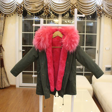 Fashion Girls Fur Coat Baby Girls Outerwear Rabbit Fur Liner Windbreaker Kids Coats Jackets For Cold