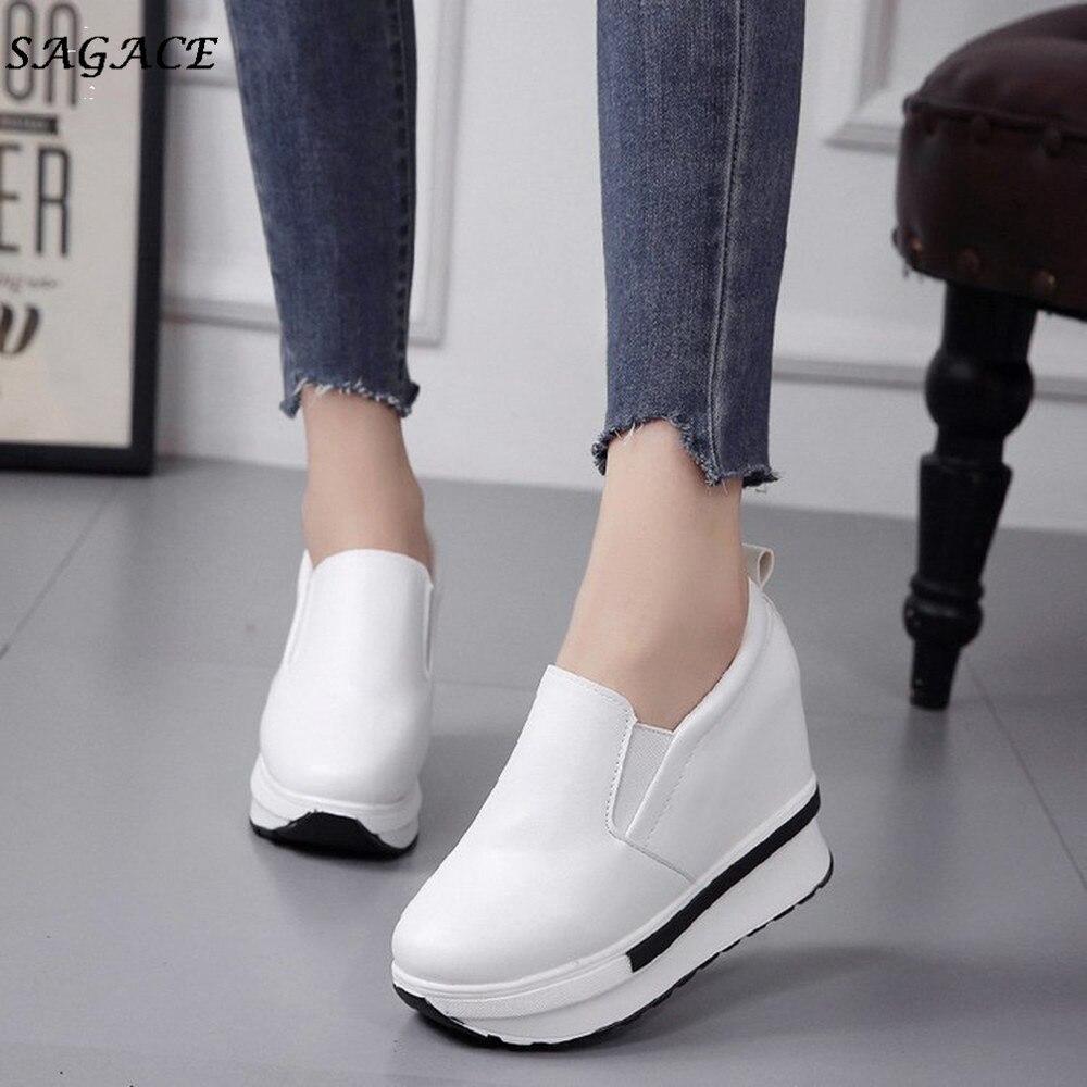 Zapatos Qualité Printemps white Rond Sauvage Cagace Flatform Étudiants Femmes De Mujer Bout Chaussures Mode Black Solide Casual OCCfwUq