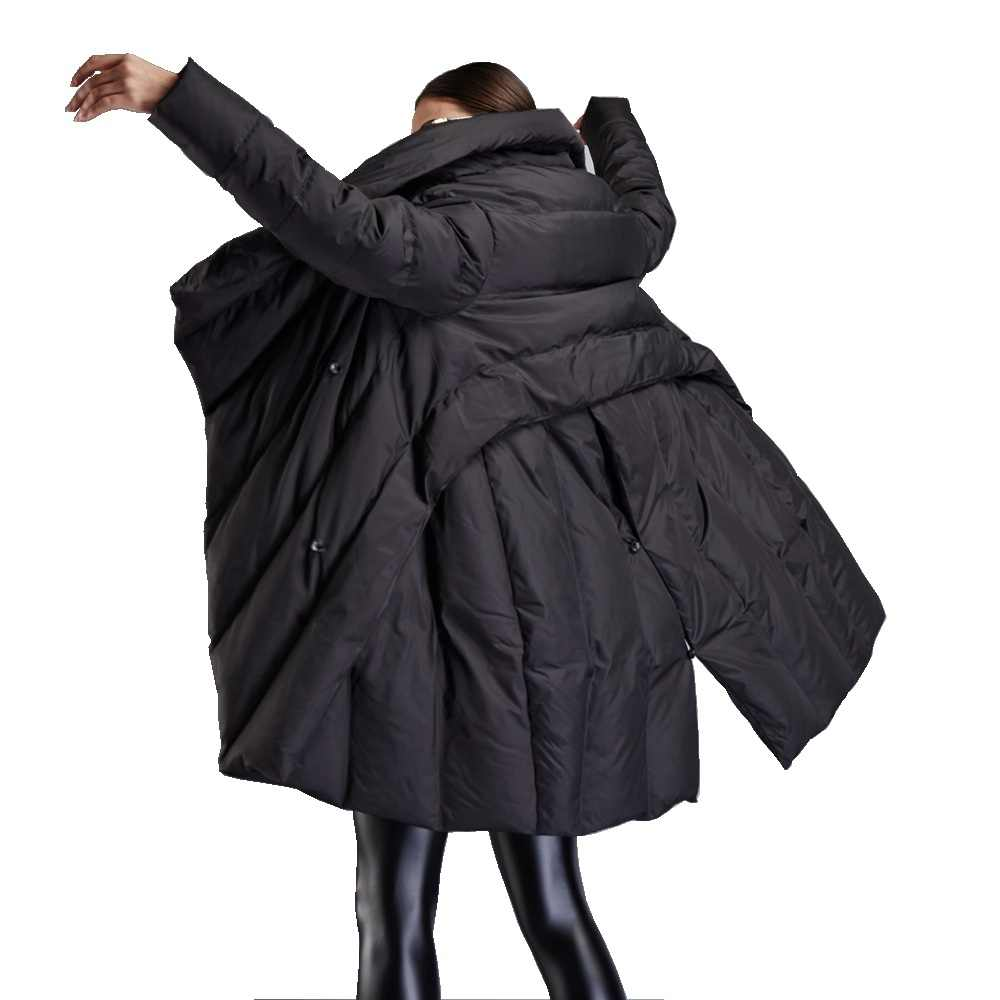 Зимнее Новое поступление, женские пуховики, необычный плащ, стильная пуховая куртка для женщин и девочек, большой отворот, толстый свободный пуховик EF12008