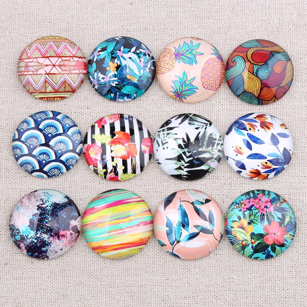 Onwear Mix Tropical Flower Pattern Photo Round Dome Glass Cabochon 30mm 25mm 20mm 12mm 14mm 18mm Diy Bracelet Findings