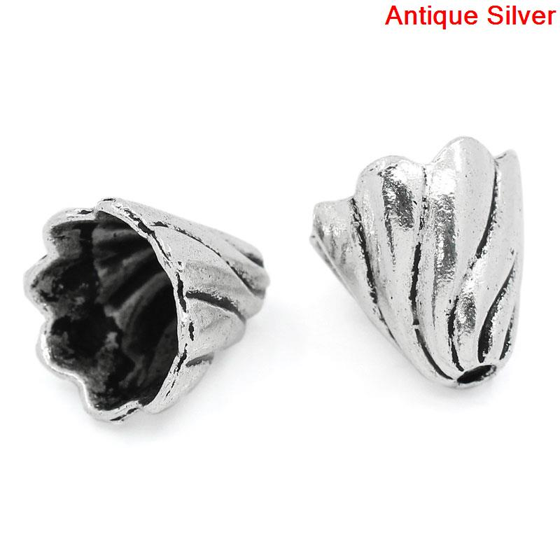 DoreenBeads Zinc metal alloy Beads Caps Clock Antique Silver(Fits 12mm-16mm Beads)Pattern Pattern 13mm(4/8)x 12mm(4/8),6 PCs anime style feather pattern zinc alloy brooch pin blue white silver