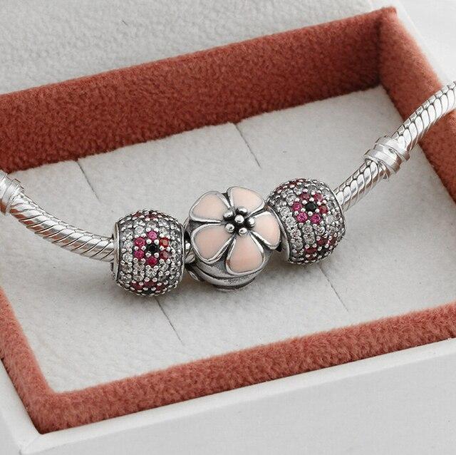 2014 nuevo 925 Cherry Blossom Charm Set moda perlas Slide Compatible con la pulsera europea para mujeres