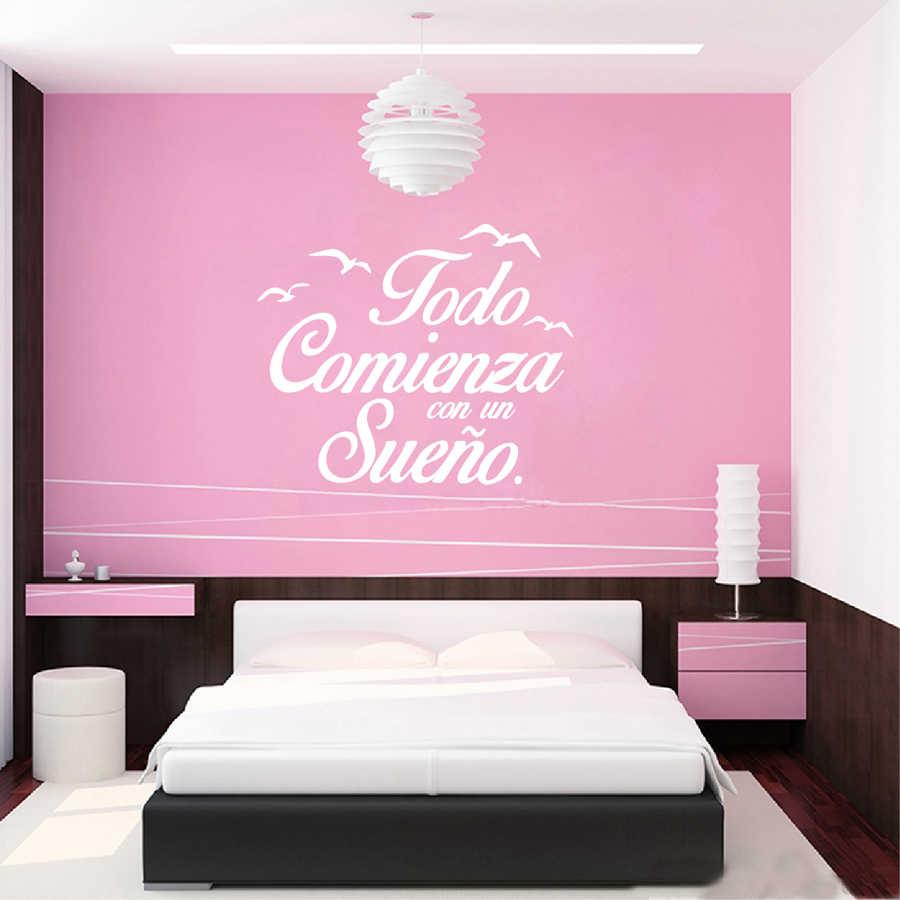 Pegatinas de pared de vinilo frase en español calcomanías de pared de dormitorio letras de pájaros decoración del hogar Decoración del dormitorio