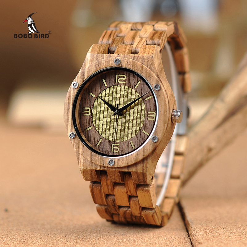 лучшая цена BOBO BIRD New Wooden Watches Timepieces for Men Women Casual Zebra Wood Band Quartz Watch in Wooden Gift Box W*Q01 Drop Shipping